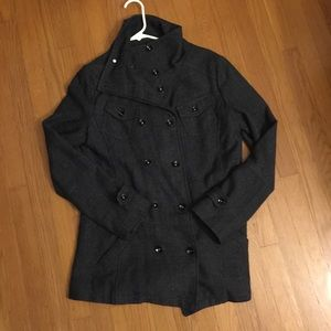 Grey Wool Blend Oversized Trench Jacket Small